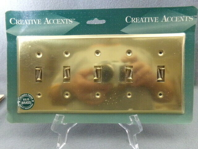Creative Accents Bright Brass 5 Toggle Switch Wall Plate - $21.65