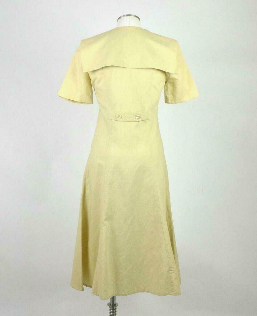 Vintage 80s Beige Cream Maxi Dress Cracker Jack Collar Short Sleeve Retro Size M image 3
