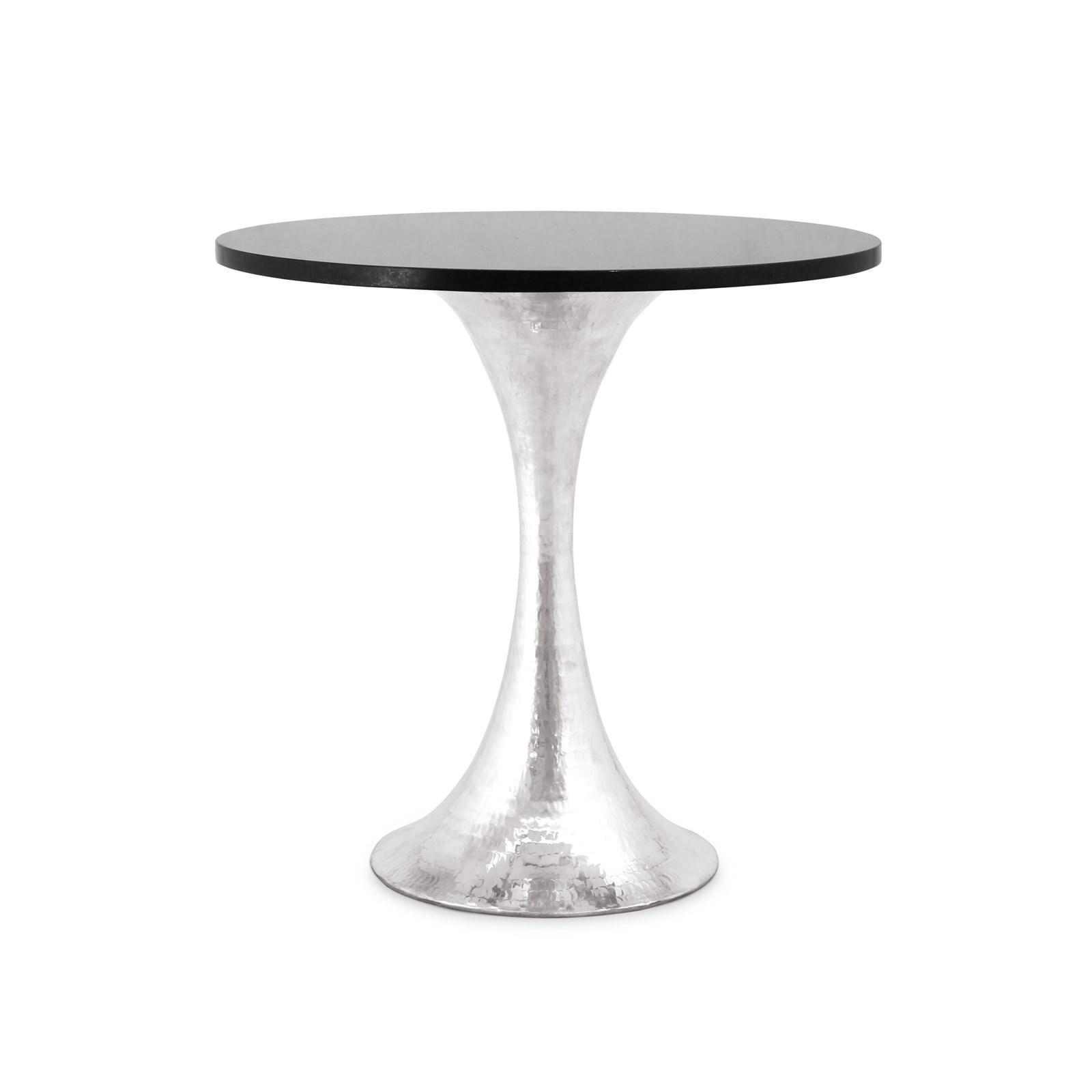 """Bungalow 5 STOCKHOLM 20"""" GALAXY Black Granite Top & Nickel Base Side Table for sale  USA"""