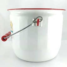 Festival Enamelware Vintage Pail Gallon White Porcelain Red Trim & Wood ... - $36.95