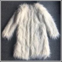 Luxury White or Pink Long Hair Mongolian Sheep Faux Fur Medium Long Coat Jacket image 2