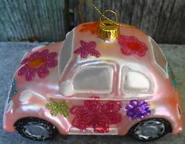 Pink Love Bug VW Volkswagen Christmas Ornament Glass Blown - $18.00