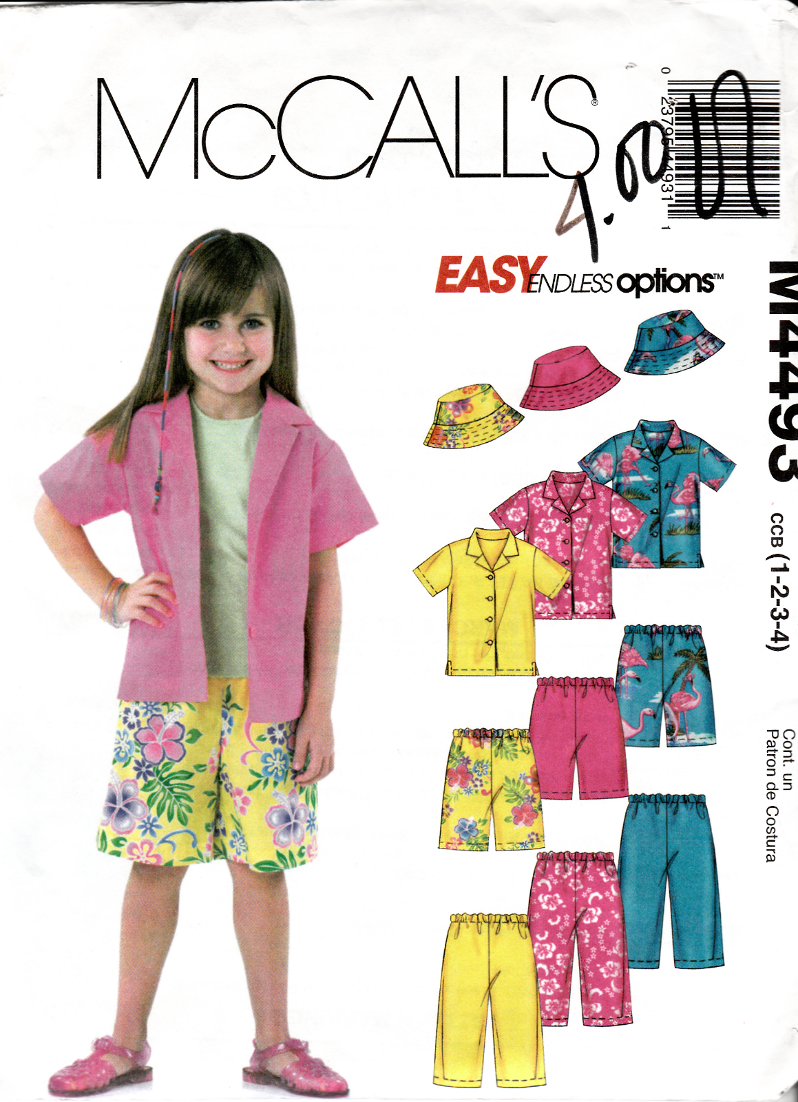 McCalls Pattern M4493 Toddlers Shirt Pants Shorts, Hat in Two Sizes 1-4 New  - $3.47