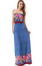 New Boutique Maxi Dress S Strapless Floral Blue Stretch - $15.85