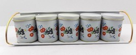 Meister Metal Spice Tins Set Floral Bluebird Small Canisters Wall Shelf ... - $19.79