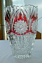 """Clear Crystal With Cranberry Overlay Hobstar  Vase 10"""" Tall - $59.40"""