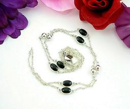FI Signed BLACK ENAMEL OVAL Beads Vintage NECKLACE 2 Strand SILVERTONE 1... - $12.99