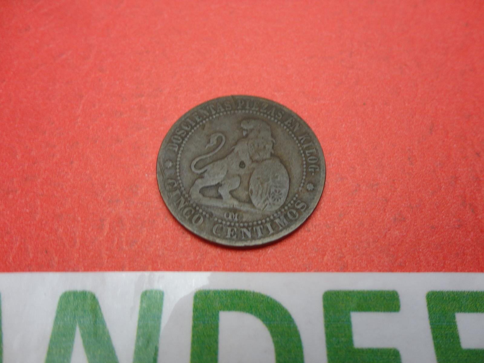 1- 1870 Cinco Centimos Doscientas Piezas En Kilog Cinco Gramos Coin Money