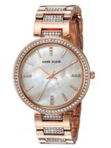 NEW Anne Klein Women's Swarovski Crystal Accented Rose Gold-Tone Bracelet Watch