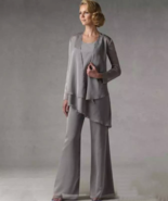 Mother Of The Groom Grey Chiffon Bridal Mother Bride Pant Suits With Jac... - $190.00