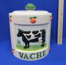 """Canister Cookie Jar w/ Lid Ceramic Cow La """" Vache """" French Kitchen Peach... - $22.76"""