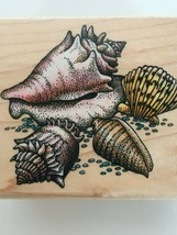 Rubber Stampede Seashells Collage Crown Conch Scallop Shell Cone Rubber ... - $11.04