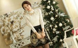 Retro High Waist Pleated Floral Chiffon Embroidery Short Mini Women Skirt Dress - $18.50