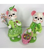 """Annalee Mobility Mouse Set  Boy Girl Green Easter Basket Flowers 6"""" Figure Plush - $27.91"""