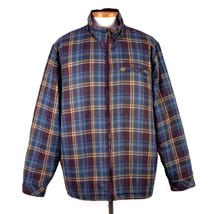 Columbia Reversible Puffer Plaid Check Jacket Bomber Maroon Zip Up Mens ... - $28.70