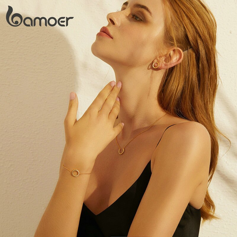 Primary image for bamoer Silver 925 Office Lady Round Circle Geometry Design Necklace Stud Earring