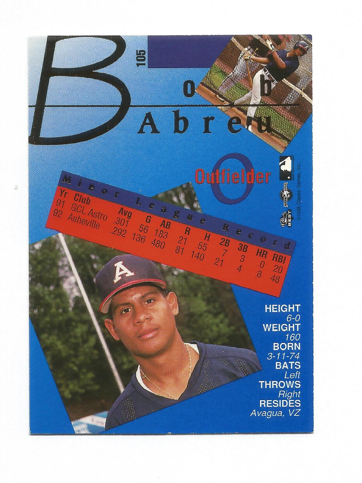 Bobby Abreu 1993 Classic Best Gold Card #105 Astros Free Shipping