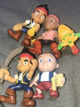 Disney Neverland Pirate Set Pvc Poseable Cake Toppers Set Of 5 Toys - $24.74