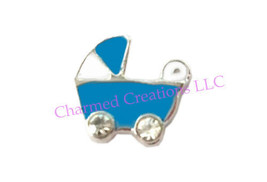 Blue Baby Boy Stroller Pram CZ Floating Charms For Glass Memory Locket Necklace - $1.97