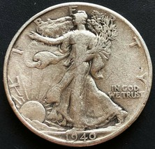 1940 USA Walking Liberty 90% Silver 50 Cent Half Dollar Coin - Great Con... - $10.38