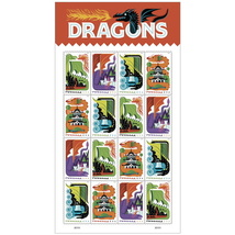 USPS Dragons Sheet of 16 Forever Stamps - $8.99
