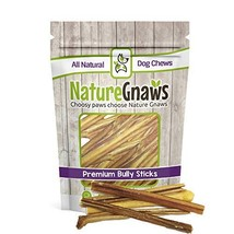 """Nature Gnaws Extra Thin Bully Sticks 5-6"""" 25 Pack - 100% All-Natural Grass-Fed F"""