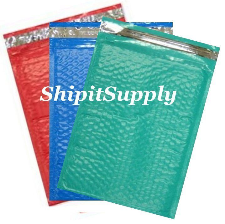 3-300 #0 6x10 ( Blue Teal & Red ) Color Poly Bubble Mailers Fast Shipping