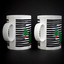 Mikasa Fine China Mug Holiday Forest WN053 Set of 2 Christmas Trees Black White - $22.72