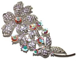 "4"" x 2"" Womens Silver Floral Flower Crystal Brooch Pin Clear Aurora Bore... - $20.21"
