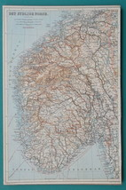 """NORWAY Southern Part - 1912 MAP by Baedeker 9 x 14"""" (23 x 36 cm) - $18.67"""
