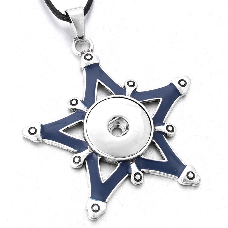 New Styles Metal Star 18mm Snap Button Necklaces & Pendants Snap Jewelry DIY Jew