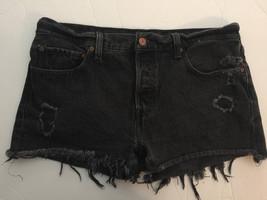 "Levi's Button-Fly Black Cutoff Jean Shorts Cut Off Denim 30"" Waist - $29.61"