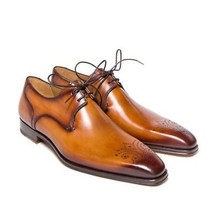 Handmade Men's Tan Burnished Heart Medallion Lace Up Leather Oxford Shoes image 1