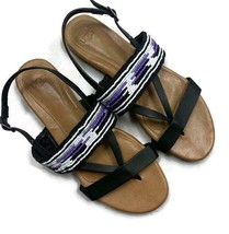 UGG Serape Beaded Sandals Purple Flat Shoes Black Size 8.5 - $44.15