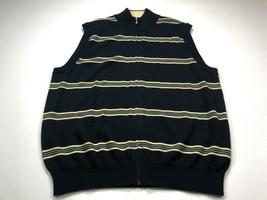 Brooks Brothers Mens Sweater Vest L Full Zip Navy Blue Cream Stripe Slee... - $39.99