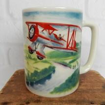 "Vintage Otagiri Red Green Blue Bi-Plane Airplane Ceramic Tea Coffee Mug Cup 4"" - $19.99"