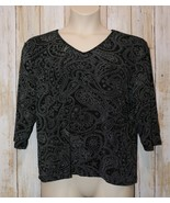 Womens Black White Paisley Briggs New York 3/4 Sleeve Shirt Size 1X exce... - $7.91