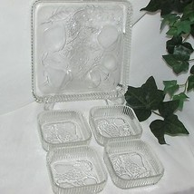 FRUITS by INDIANA GLASS SQUARE SNACK SET TRAY NAPPY CLEAR DEPRESSION GLA... - $16.65