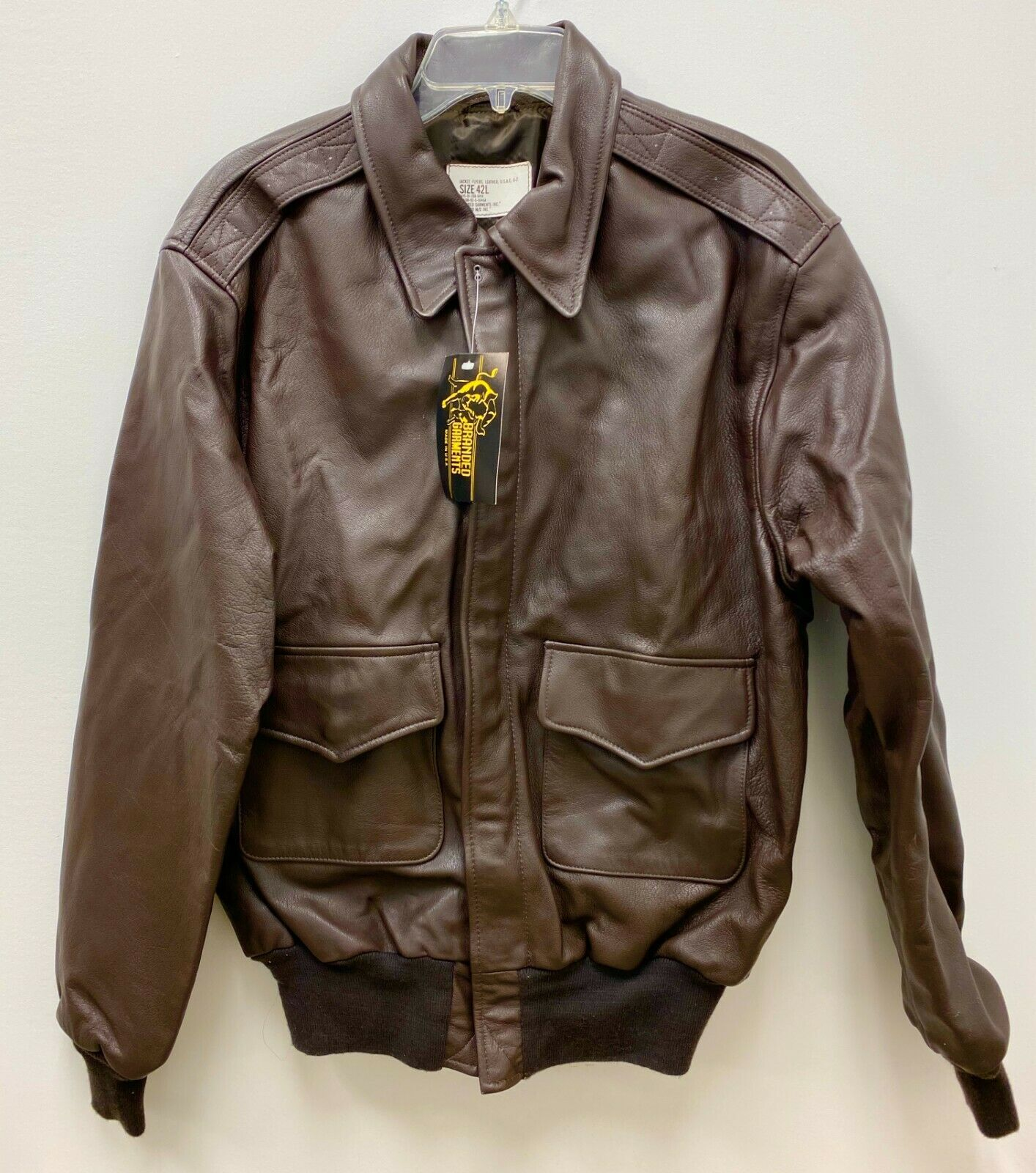 GENUINE 1992 AIR FORCE USFA FLYERS MEN'S LEATHER TYPE A-2 FLIGHT JACKET - 42L - $405.90