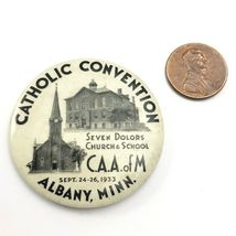 Vintage Albany Minnesota 1933 Catholic Convention Souvenir Button image 3