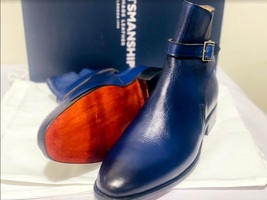 Handmade Men's Blue High Ankle Monk Strap Leather Boot image 4
