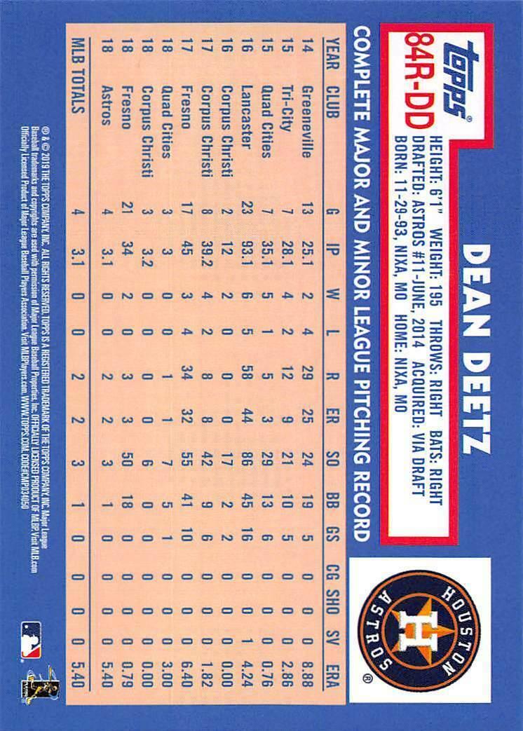 2019 Topps 1984 #T84RDD Dean Deetz RC Rookie Card > Houston Astros
