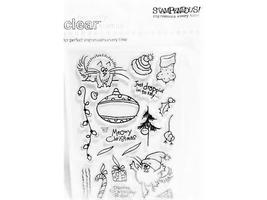 Stampendous 21 Pc Clear Acrylic Stamp Set Festive Fluffles #SSC1027 - $11.99