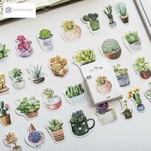 50 Pcs/pack Green Succulents Plants Decorative Adhesive Sticker Tape Kid... - $3.57