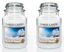 2 Yankee Candle 22 oz Large Jar Candles Season Of Peace Musk Bergamot Pa... - $53.18