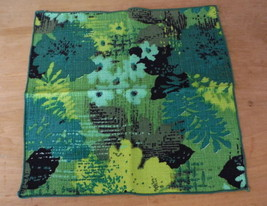 Vintage Napkin Set of 4 Mod Green Floral Textured 60s Mid Century Fabric... - $24.49