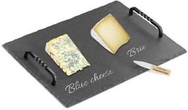 Artaste Slate Cheese Board and Soapstone Chalk Set With Die Cast Iron Ha... - $32.90