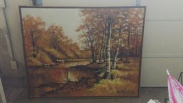 "Large 61""x 49"" Original Walter Sherwood Landscape Oil Painting Signed Artist Art image 8"