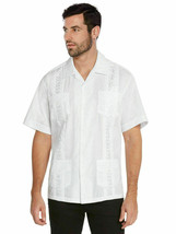 Men's Guayabera Beach Wedding  Short Sleeve White Dress Shirt w/ Defect 4XL