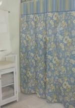 Waverly Fabric Shower Curtain 72x72 Honeymoon Blue Floral - $19.99